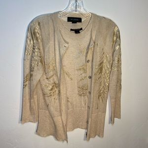 St. John Gold Leaf Embellished Cardigan & Tank Top